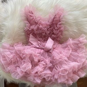 First birthday infant dress - pink and fluffy
